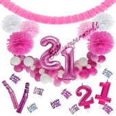 Do it Yourself Dekorations-Set mit Ballongirlande zum 21. Geburtstag, Happy Birthday Pink & White, 91 Teile