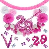 Do it Yourself Dekorations-Set mit Ballongirlande zum 29. Geburtstag, Happy Birthday Pink & White, 91 Teile