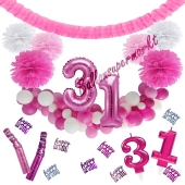 Do it Yourself Dekorations-Set mit Ballongirlande zum 31. Geburtstag, Happy Birthday Pink & White, 91 Teile