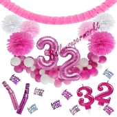 Do it Yourself Dekorations-Set mit Ballongirlande zum 32. Geburtstag, Happy Birthday Pink & White, 91 Teile
