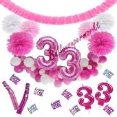 Do it Yourself Dekorations-Set mit Ballongirlande zum 33. Geburtstag, Happy Birthday Pink & White, 91 Teile