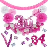 Do it Yourself Dekorations-Set mit Ballongirlande zum 34. Geburtstag, Happy Birthday Pink & White, 91 Teile