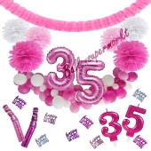 Do it Yourself Dekorations-Set mit Ballongirlande zum 35. Geburtstag, Happy Birthday Pink & White, 91 Teile