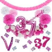 Do it Yourself Dekorations-Set mit Ballongirlande zum 37. Geburtstag, Happy Birthday Pink & White, 91 Teile