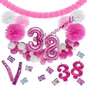 Do it Yourself Dekorations-Set mit Ballongirlande zum 38. Geburtstag, Happy Birthday Pink & White, 91 Teile