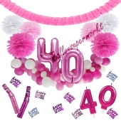 Do it Yourself Dekorations-Set mit Ballongirlande zum 40. Geburtstag, Happy Birthday Pink & White, 91 Teile