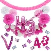 Do it Yourself Dekorations-Set mit Ballongirlande zum 43. Geburtstag, Happy Birthday Pink & White, 91 Teile