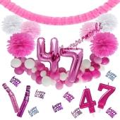 Do it Yourself Dekorations-Set mit Ballongirlande zum 47. Geburtstag, Happy Birthday Pink & White, 91 Teile
