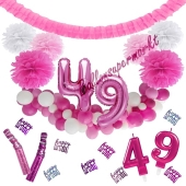 Do it Yourself Dekorations-Set mit Ballongirlande zum 49. Geburtstag, Happy Birthday Pink & White, 91 Teile