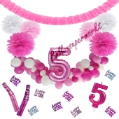 Do it Yourself Dekorations-Set mit Ballongirlande zum 5. Geburtstag, Happy Birthday Pink & White, 89 Teile