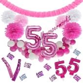 Do it Yourself Dekorations-Set mit Ballongirlande zum 55. Geburtstag, Happy Birthday Pink & White, 91 Teile