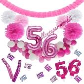 Do it Yourself Dekorations-Set mit Ballongirlande zum 56. Geburtstag, Happy Birthday Pink & White, 91 Teile