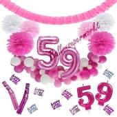 Do it Yourself Dekorations-Set mit Ballongirlande zum 59. Geburtstag, Happy Birthday Pink & White, 91 Teile