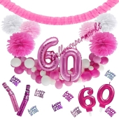 Do it Yourself Dekorations-Set mit Ballongirlande zum 60. Geburtstag, Happy Birthday Pink & White, 91 Teile