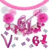 Do it Yourself Dekorations-Set mit Ballongirlande zum 61. Geburtstag, Happy Birthday Pink & White, 91 Teile