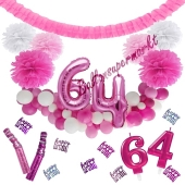 Do it Yourself Dekorations-Set mit Ballongirlande zum 64. Geburtstag, Happy Birthday Pink & White, 91 Teile