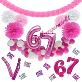 Do it Yourself Dekorations-Set mit Ballongirlande zum 67. Geburtstag, Happy Birthday Pink & White, 91 Teile
