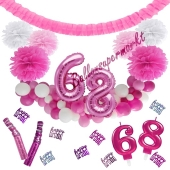 Do it Yourself Dekorations-Set mit Ballongirlande zum 68. Geburtstag, Happy Birthday Pink & White, 91 Teile