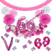 Do it Yourself Dekorations-Set mit Ballongirlande zum 69. Geburtstag, Happy Birthday Pink & White, 91 Teile