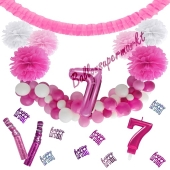 Do it Yourself Dekorations-Set mit Ballongirlande zum 7. Geburtstag, Happy Birthday Pink & White, 89 Teile