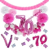 Do it Yourself Dekorations-Set mit Ballongirlande zum 70. Geburtstag, Happy Birthday Pink & White, 91 Teile