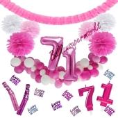 Do it Yourself Dekorations-Set mit Ballongirlande zum 71. Geburtstag, Happy Birthday Pink & White, 91 Teile