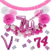 Do it Yourself Dekorations-Set mit Ballongirlande zum 74. Geburtstag, Happy Birthday Pink & White, 91 Teile