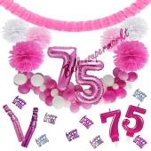 Do it Yourself Dekorations-Set mit Ballongirlande zum 75. Geburtstag, Happy Birthday Pink & White, 91 Teile