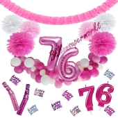 Do it Yourself Dekorations-Set mit Ballongirlande zum 76. Geburtstag, Happy Birthday Pink & White, 91 Teile