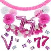 Do it Yourself Dekorations-Set mit Ballongirlande zum 77. Geburtstag, Happy Birthday Pink & White, 91 Teile