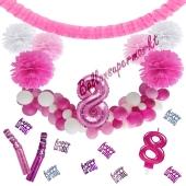 Do it Yourself Dekorations-Set mit Ballongirlande zum 8. Geburtstag, Happy Birthday Pink & White, 89 Teile