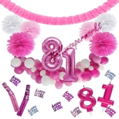 Do it Yourself Dekorations-Set mit Ballongirlande zum 81. Geburtstag, Happy Birthday Pink & White, 91 Teile