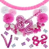 Do it Yourself Dekorations-Set mit Ballongirlande zum 82. Geburtstag, Happy Birthday Pink & White, 91 Teile