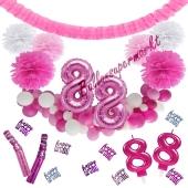 Do it Yourself Dekorations-Set mit Ballongirlande zum 88. Geburtstag, Happy Birthday Pink & White, 91 Teile