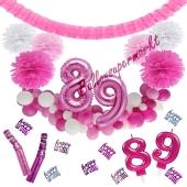 Do it Yourself Dekorations-Set mit Ballongirlande zum 89. Geburtstag, Happy Birthday Pink & White, 91 Teile