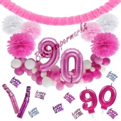 Do it Yourself Dekorations-Set mit Ballongirlande zum 90. Geburtstag, Happy Birthday Pink & White, 91 Teile