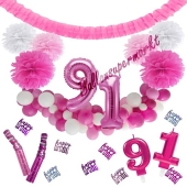 Do it Yourself Dekorations-Set mit Ballongirlande zum 91. Geburtstag, Happy Birthday Pink & White, 91 Teile