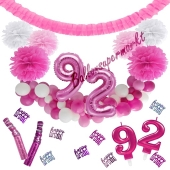 Do it Yourself Dekorations-Set mit Ballongirlande zum 92. Geburtstag, Happy Birthday Pink & White, 91 Teile