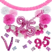 Do it Yourself Dekorations-Set mit Ballongirlande zum 95. Geburtstag, Happy Birthday Pink & White, 91 Teile