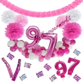 Do it Yourself Dekorations-Set mit Ballongirlande zum 97. Geburtstag, Happy Birthday Pink & White, 91 Teile