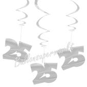 Wirbler, Zahlendeko, silber, Zahl 25, zur Silbernen Hochzeit