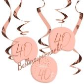 Deko-Wirbler zum 40. Geburtstag, Elegant Lush Blush 40