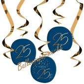Deko-Wirbler zum 25. Geburtstag, Elegant True Blue 25