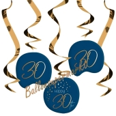 Deko-Wirbler zum 30. Geburtstag, Elegant True Blue 30