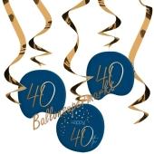 Deko-Wirbler zum 40. Geburtstag, Elegant True Blue 40