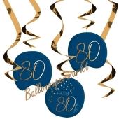 Deko-Wirbler zum 80. Geburtstag, Elegant True Blue 80