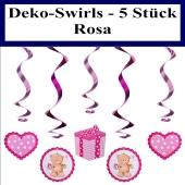 Deko Swirls Baby Dekoration, Deko-Wirbler zu Geburt, Taufe, Baby Party, Rosa, Mädchen