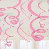 Swirls Deko-Wirbler Rosa, 12 Stück