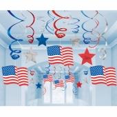 USA Partydekoration, Deko-Wirbler, Swirls