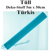 Tüll Deko-Stoff, Türkis, 5 Meter x 50 cm
